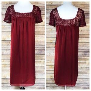Vivienne Tam DRESS Red Silk Lace Yoke Shift Dress
